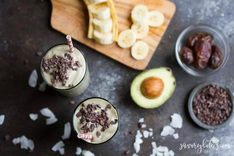 Avocado Date Smoothie (dairy free) - savorylotus.com