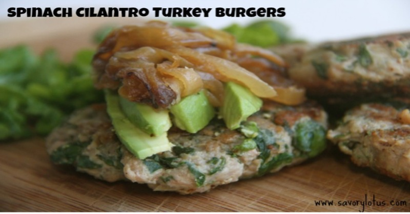 Spinach Cilantro Turkey Burger savorylotus.com