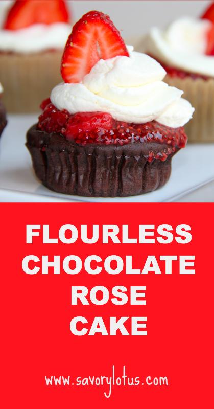 Flourless Chocolate Rose Cake - savorylotus.com