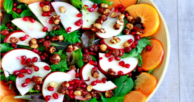 Autumn Salad with Apples, Persimmons, and Pomegranates savorylotus.com