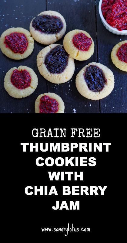 Grain Free Thumbprint Cookies with Chia Berry Jam - savorylotus.com