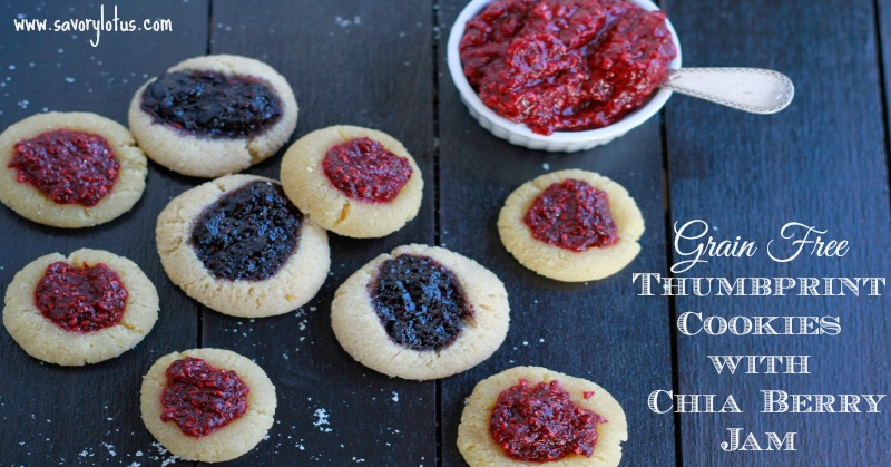 Grain Free Thumbroint Cookies with Chia Berry Jam savorylotus