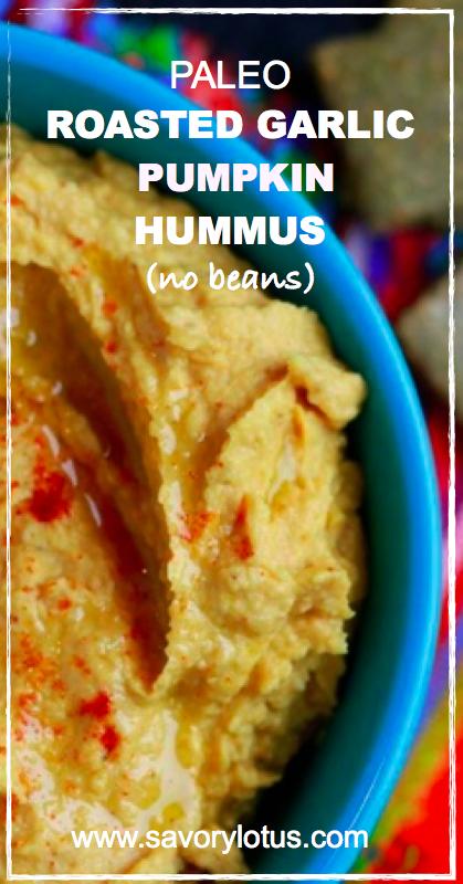 Paleo Roasted Garlic Pumpkin Hummus (no beans) - savorylotus.com