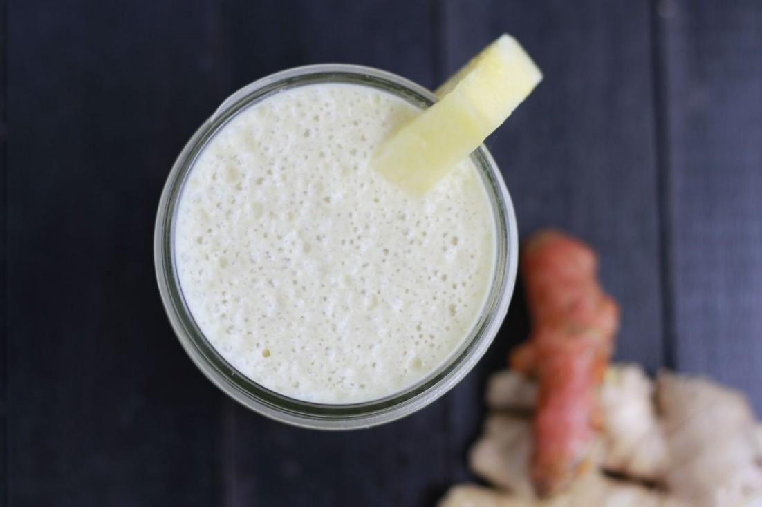 Creamy Tropical Turmeric Smoothie (dairy free) ~ savorylotus.com