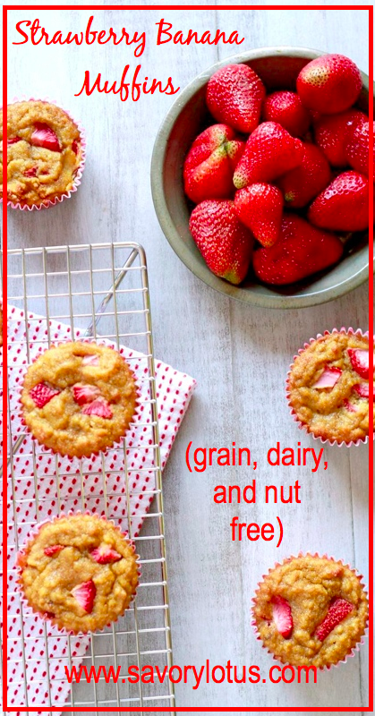 Strawberry Banana Muffins (grain, dairy, and nut free) - savorylotus.com.001