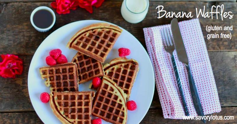 Banana Waffles (gluten and grain free, paleo) | savorylotus.com