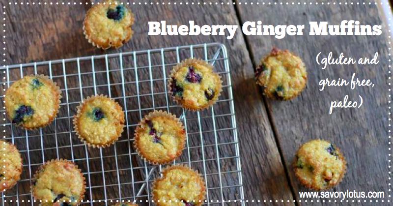 Blueberry Ginger Muffins (gluten and grain free, paleo muffins) | savorylotus.com