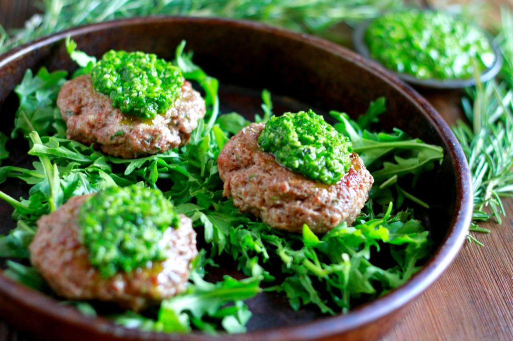 Rosemary Lamb Burgers with Pesto (gluten and grain free) ~ savorylotus.com