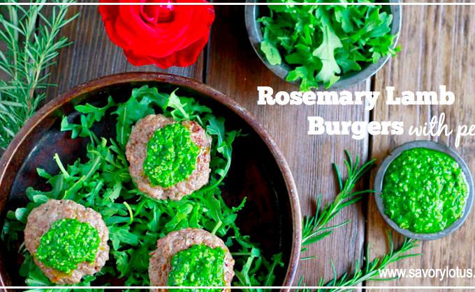 Rosemary Lamb Burgers with Pesto (gluten and grain free)