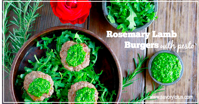 Rosemary Lamb Burgers with Pesto (gluten and grain free) | savorylotus.com