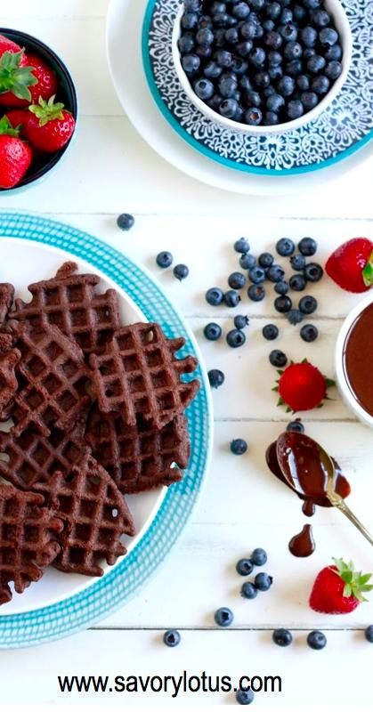 Mini Chocolate Waffles (grain free, gluten free, nut free, paleo) - savorylotus.com