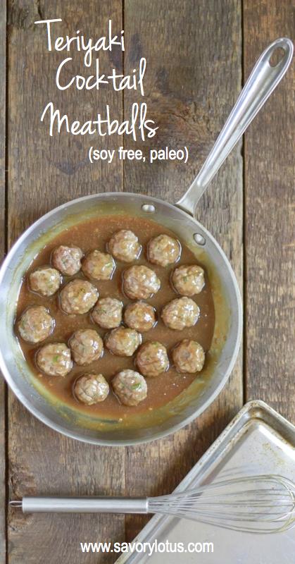 Teriyaki Cocktail Meatballs (grain free, paleo) - savorylotus.com