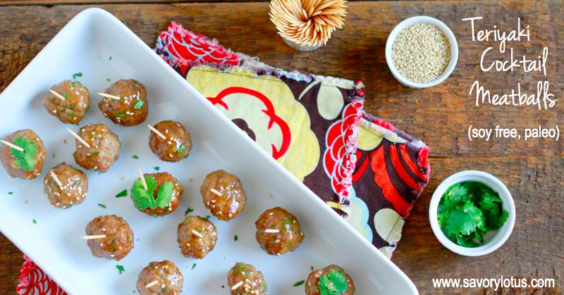 Teriyaki Cocktail Meatballs (grain free, paleo)   savorylotus.com
