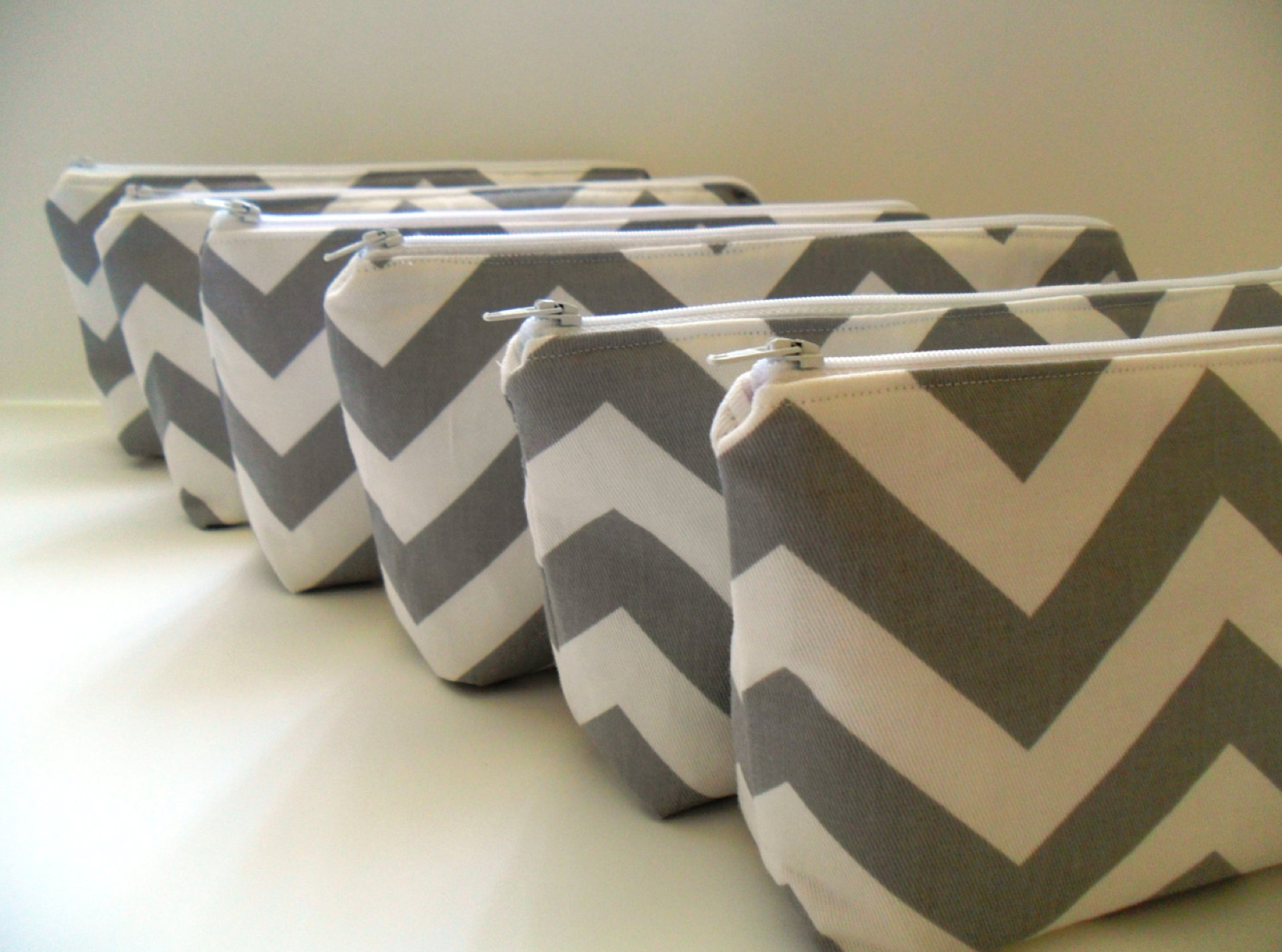 grey and white chevron make up bag