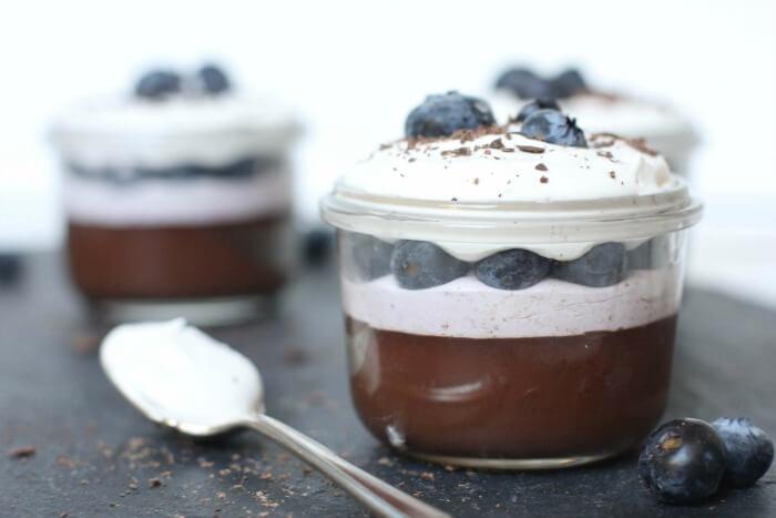 Blueberry Tea Infused Pots de Creme Parfaits.- www.savorylotus.com
