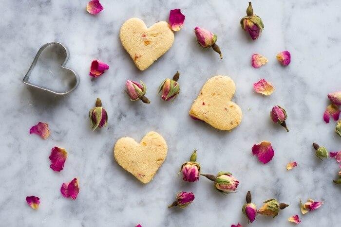 Rose Shortbread Cookies (grain free) - www.savorylotus.com