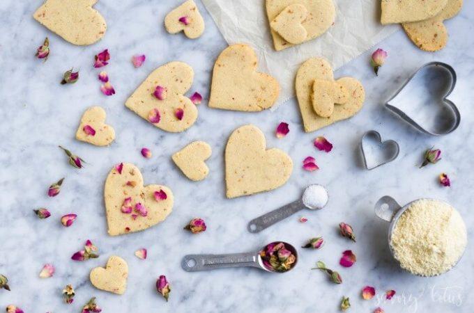 Rose Shortbread Cookies (grain free) | www.savorylotus.com