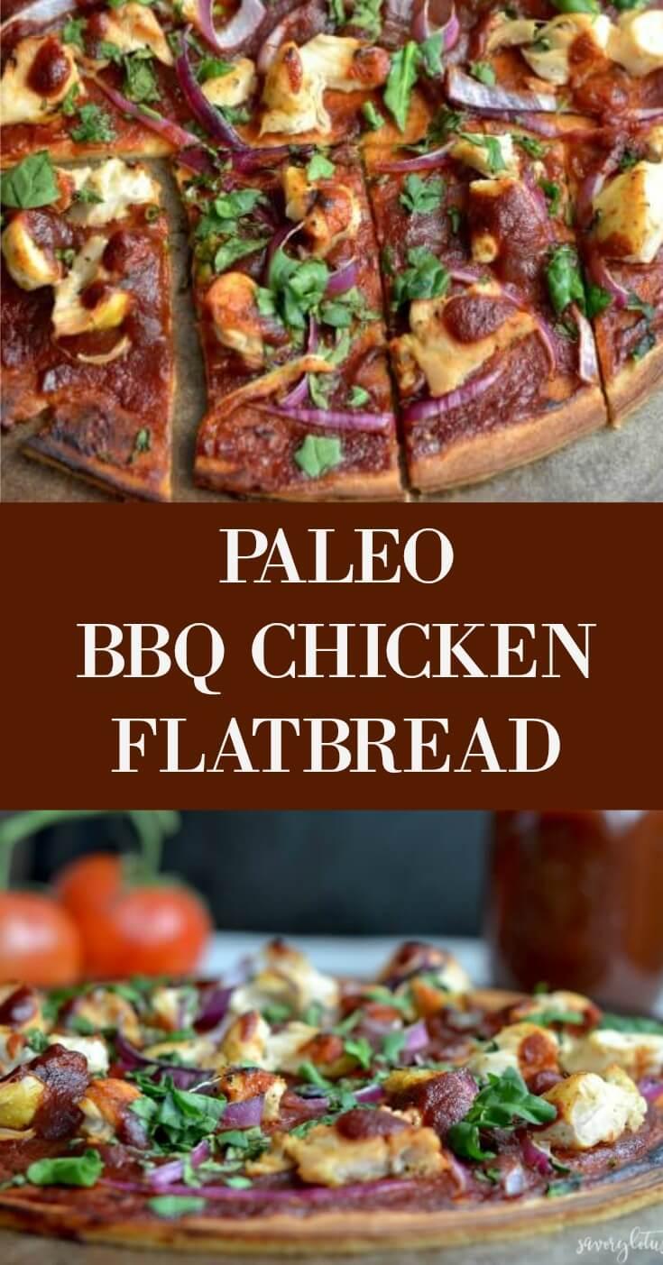 Paleo BBQ Chicken Flatbread - www.savorylotus.com