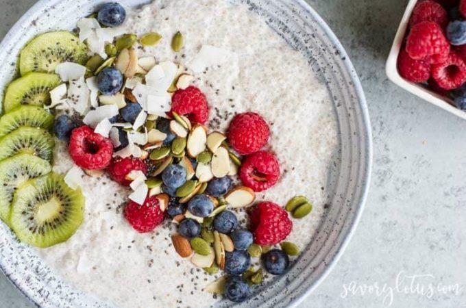 Chia Pudding Breakfast Bowl | www.savorylotus.com