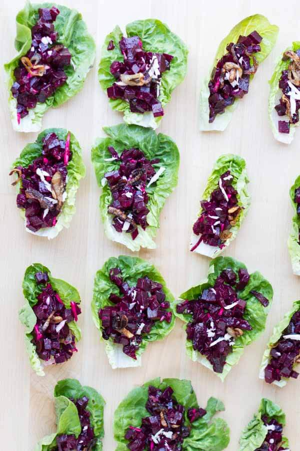 Beet Tartare Lettuce Cups (with crispy shallots) --- www.savorylotus ...