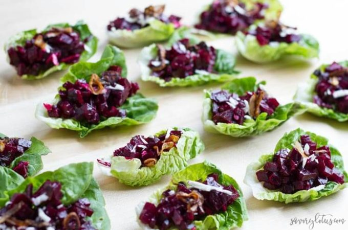 Beet Tartare Lettuce Cups with Crispy Shallots