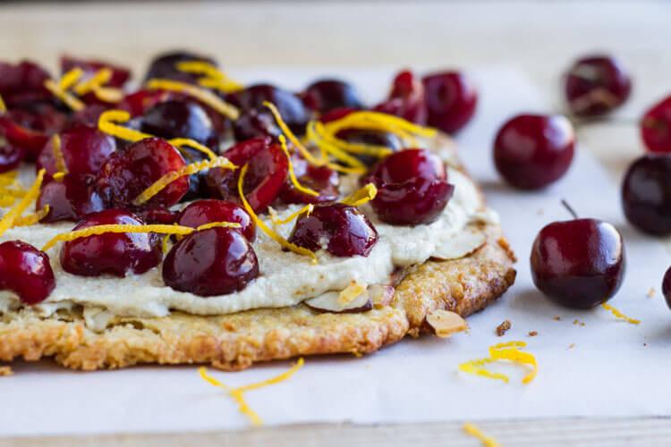 Simple Cherry Tart (gluten free) || www.savorylotus.com