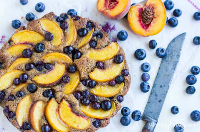 Rustic Blueberry Peach Cake (gluten free)