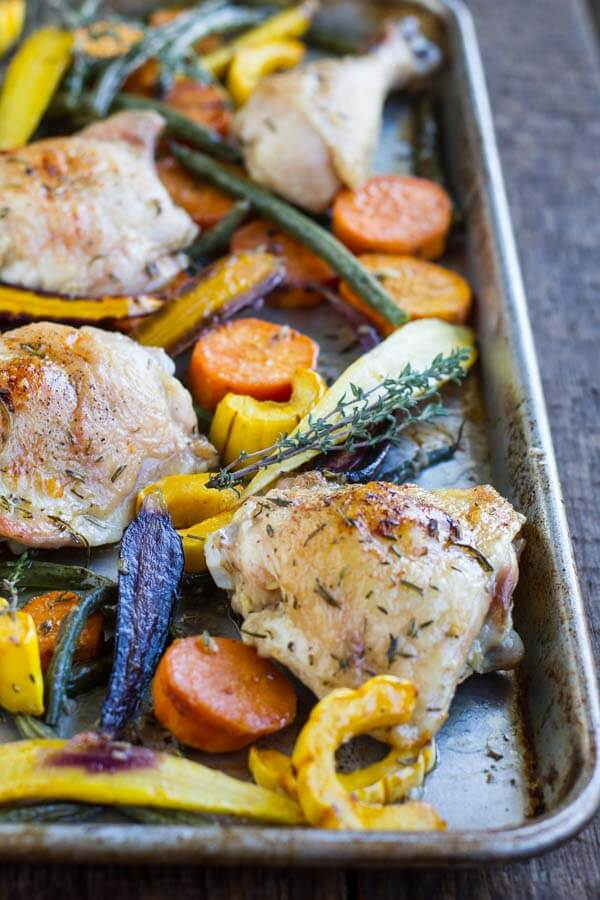 Easy Sheet Pan Chicken with Roasted Vegetables ~ www.savorylotus.com