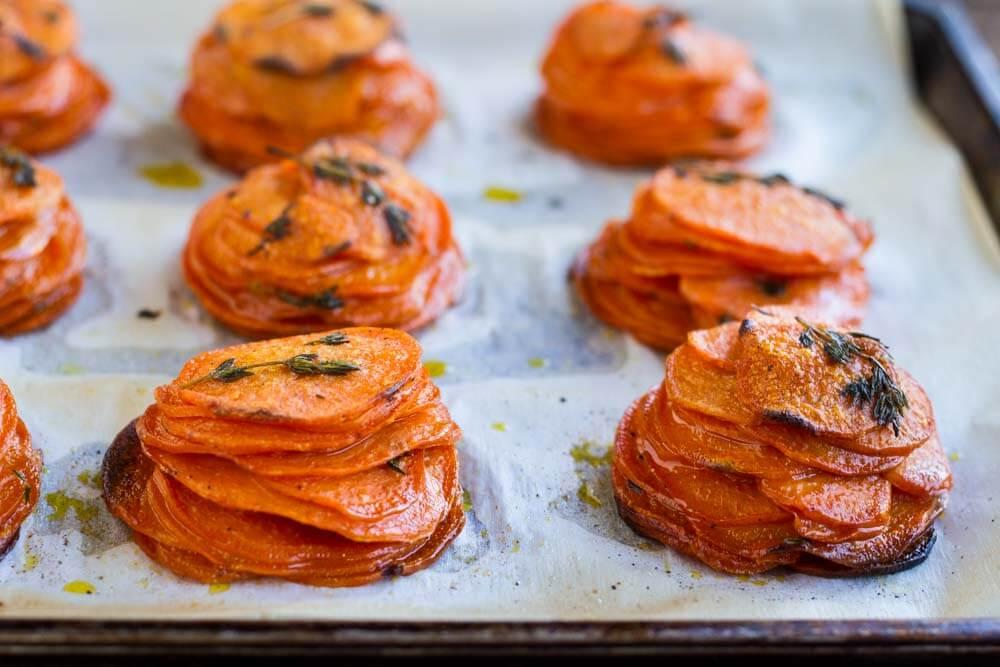 Mini Sweet Potato Pomme Anna -- www.savorylotus.com