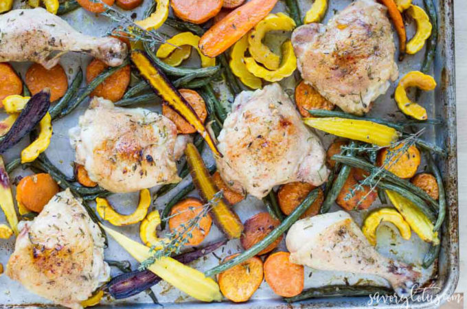 Easy Sheet Pan Chicken with Roasted Vegetables | www.savorylotus.com