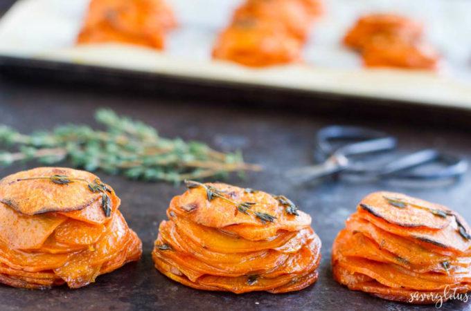 Mini Sweet Potato Pomme Anna | www.savorylotus.com