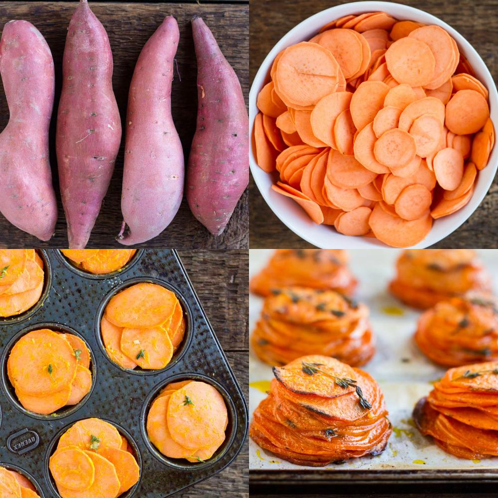 Mini Sweet Potato Pomme Anna ~ www.savorylotus.com