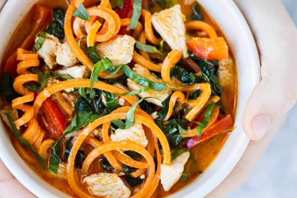 Thai Red Curry with Sweet Potato Noodles -- www.savorylotus.com