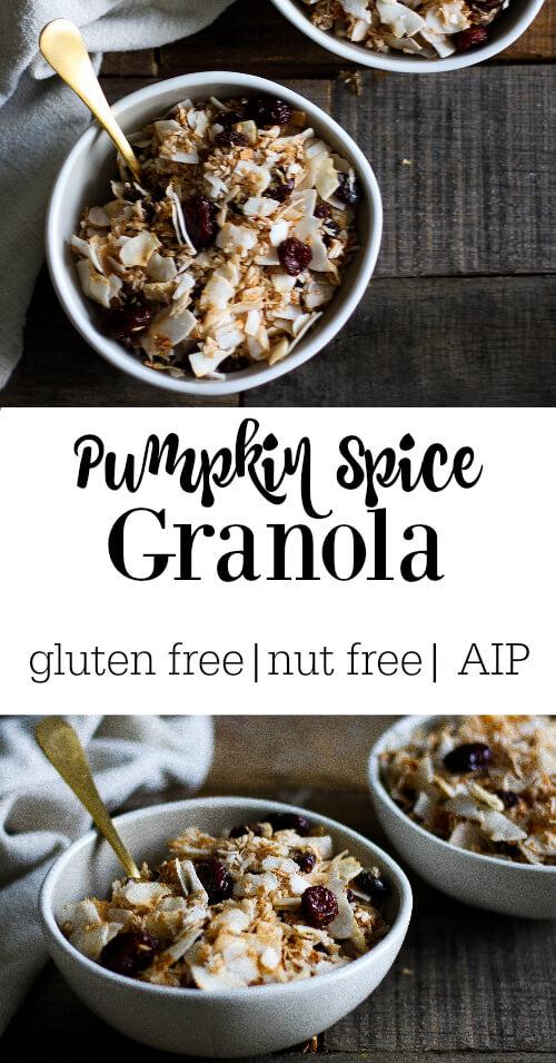 Pumpkin Spice Granola (gluten free, nut free, AIP) - www.savorylotus.com