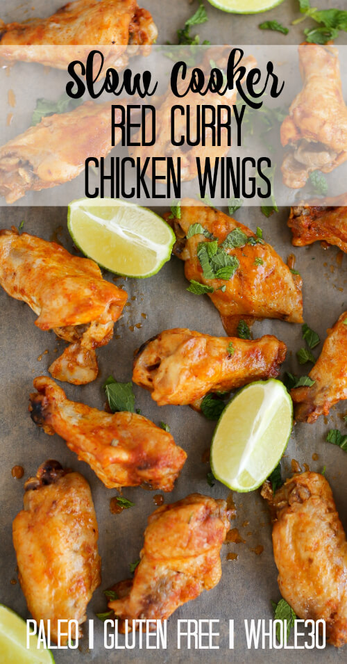 Slow Cooker Red Curry Chicken WIngs - www.savorylotus.com