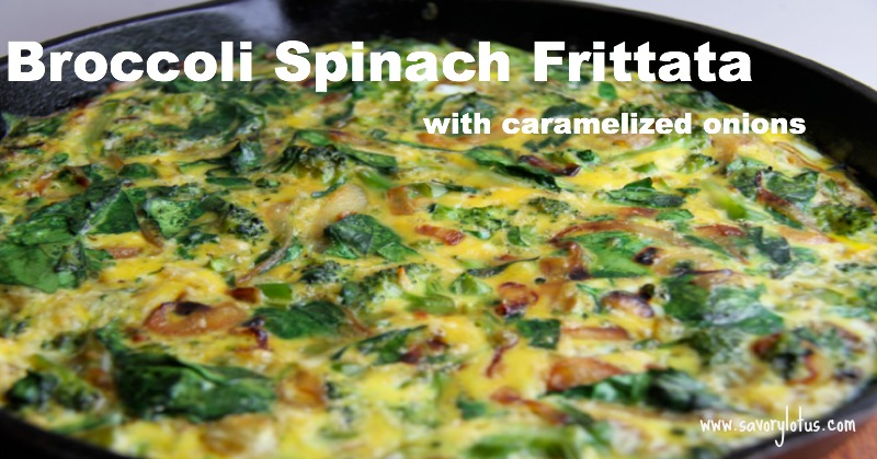 Broccoli Spinach Frittata with Caramelized Onions