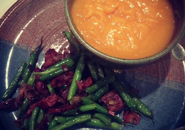 Pumpkin Soup with Green Beans and Bacon (Gluten/grain free, Paleo/GAPS )