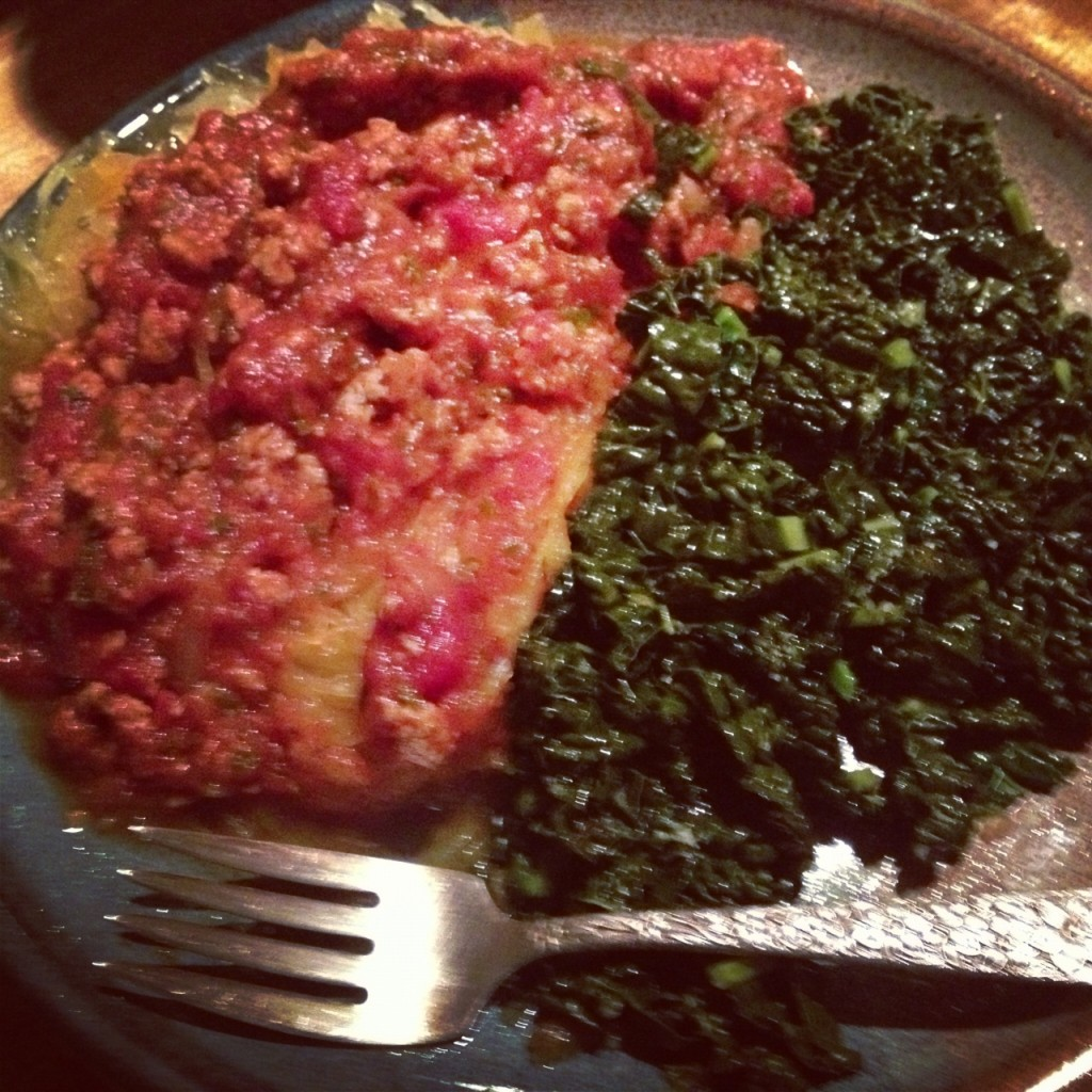 Spaghetti Squash with Red Sauce and Steamed Kale
