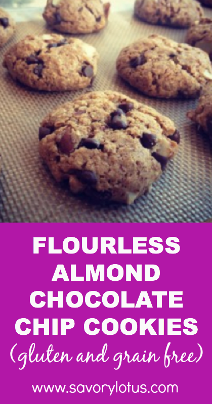 Flourless Almond Chocolate Chip Cookies (gluten and grain free) - savorylotus.com