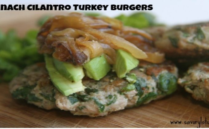 Spinach Cilantro Turkey Burgers