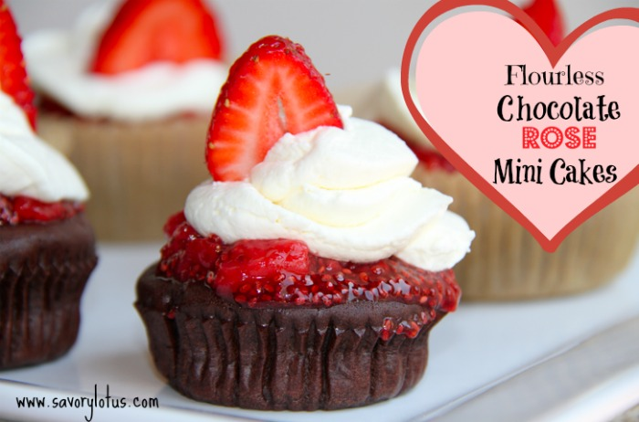 Flourless Chocolate Rose Mini Cakes