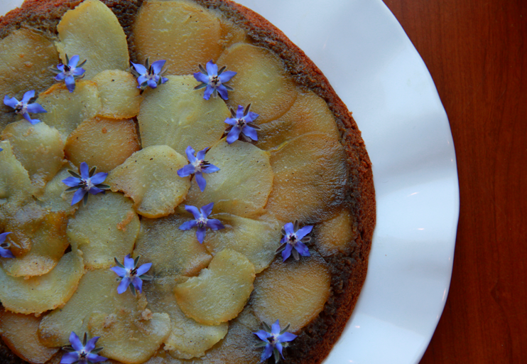 Upside Down Pear Cake with cardamom honey glaze (grain free)