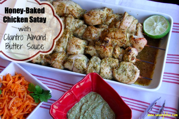 Chicken Satay with Cilantro Almond Butter Sauce