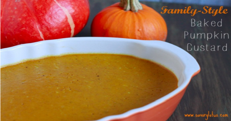 Family-Style Baked Pumpkin Custard (dairy free)