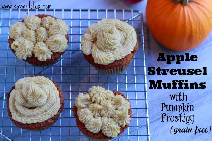 Apple Streusel Muffins with Pumpkin Frosting (grain free)