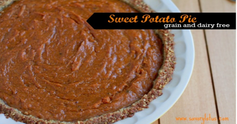 Sweet Potato Pie (grain free) savorylotus.com