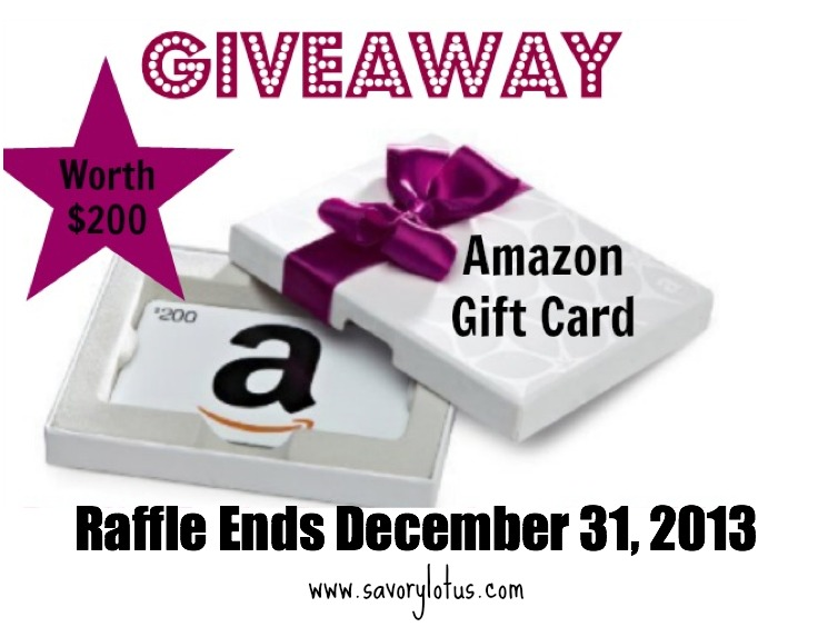 $200 Amazon Gift Card Giveaway savorylotus.com20.03 AM