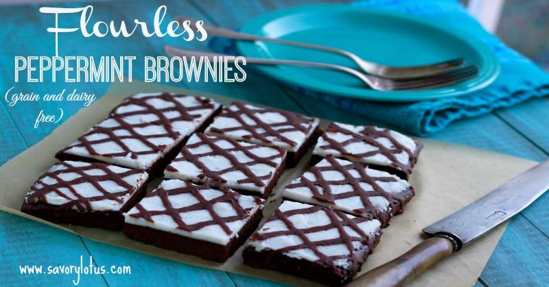 Flourless Peppermint Brownes savorylotus.com