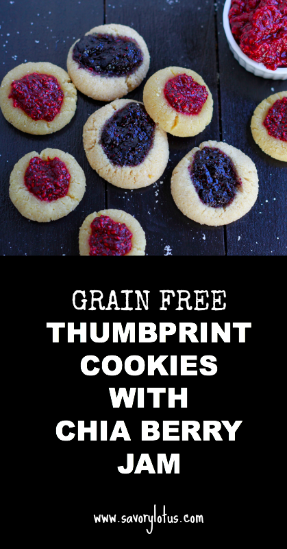 Grain Free Thumbprint Cookies with Chia Berry Jam - savorylotus.com