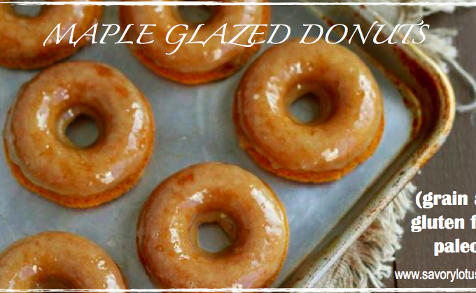 Maple Glazed Donuts (grain and gluten free, paleo) : savorylotus.com.